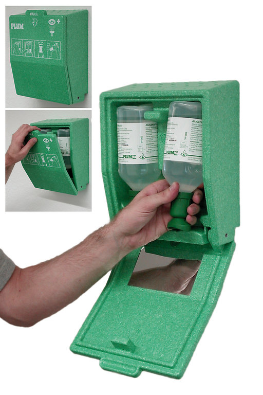 Plum Augenspülstation mit Wandbox 2 x 500 ml Flasche