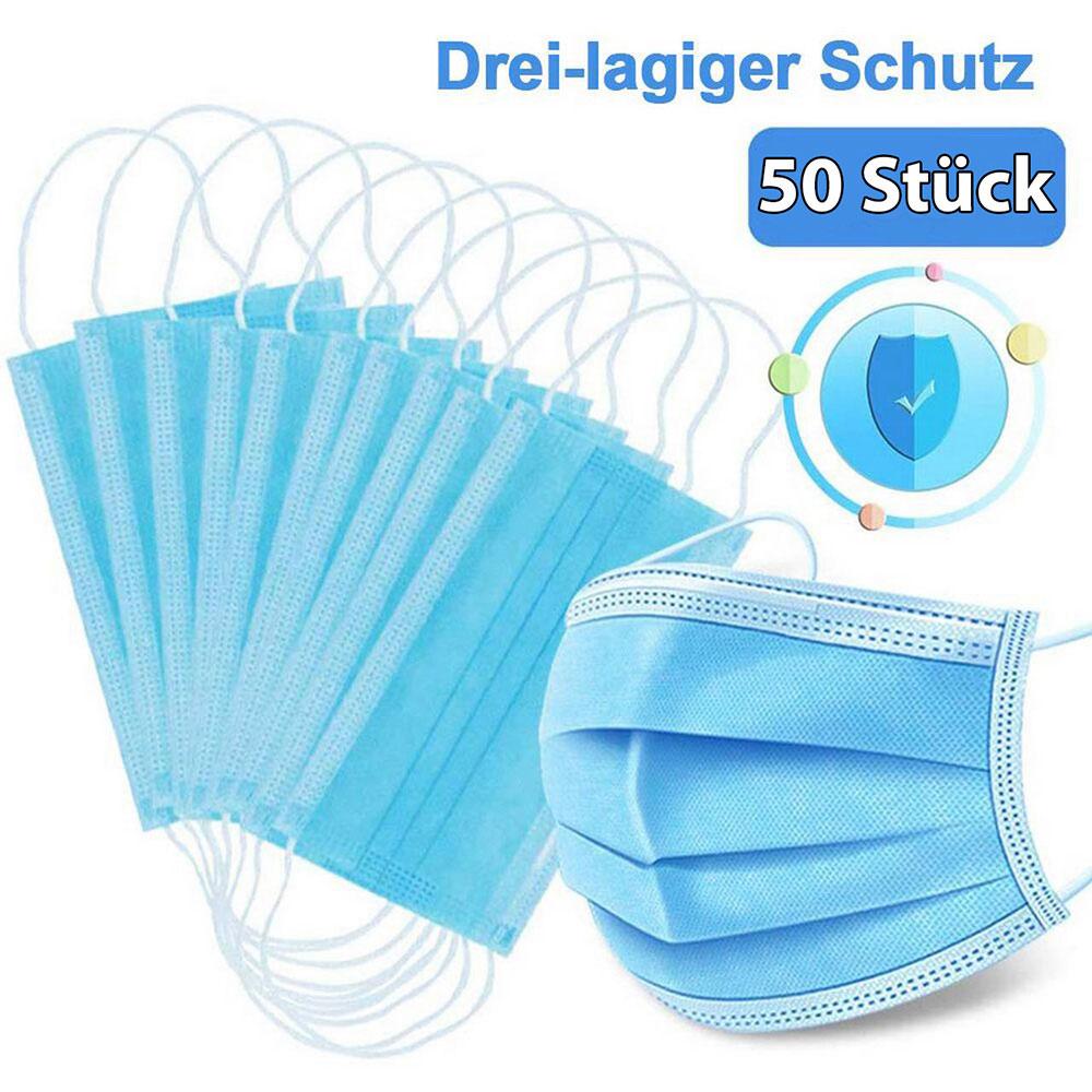 50 Stk. Einweg Mundschutz-u.Nasenschutzmaske